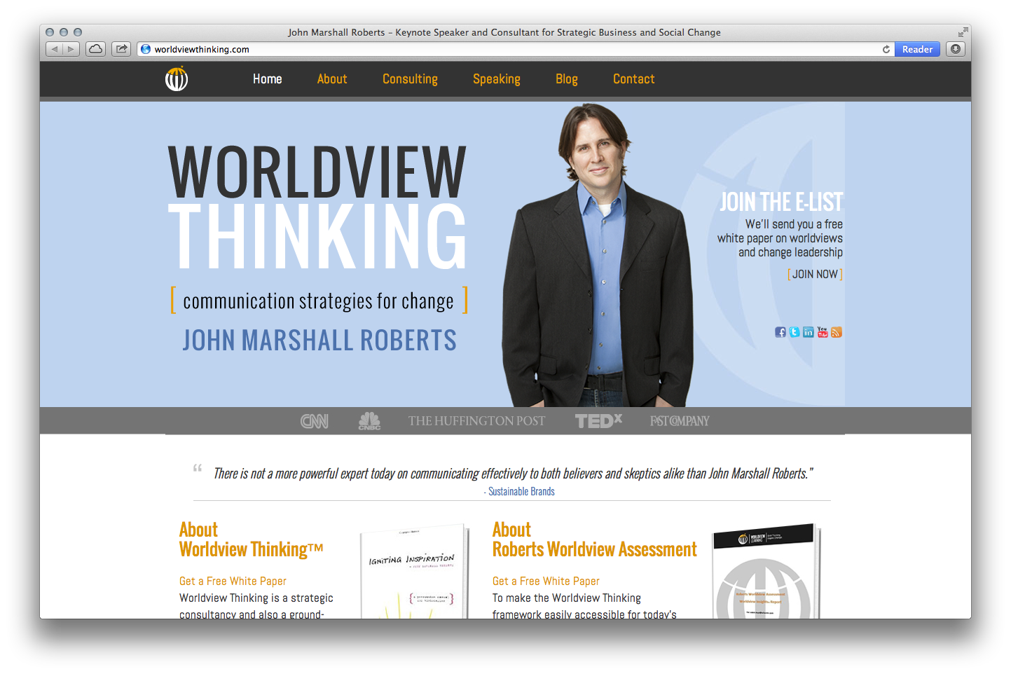 home page of Worldview Thinking