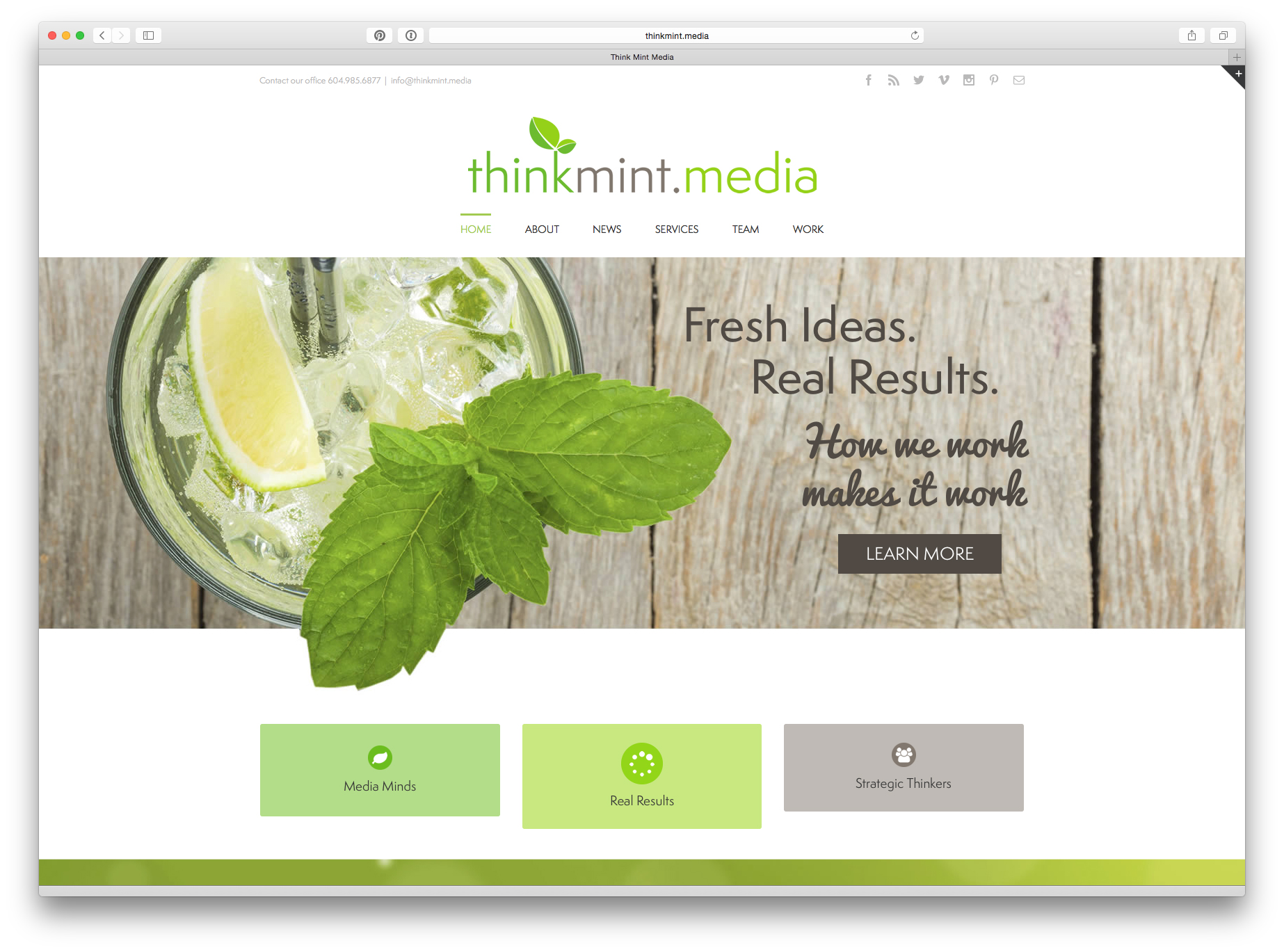 home page design for think mint media