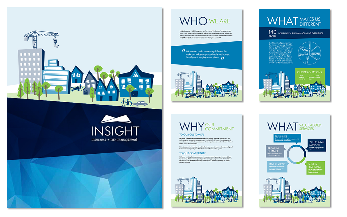 insight insurance brochure cover and sample inside pages