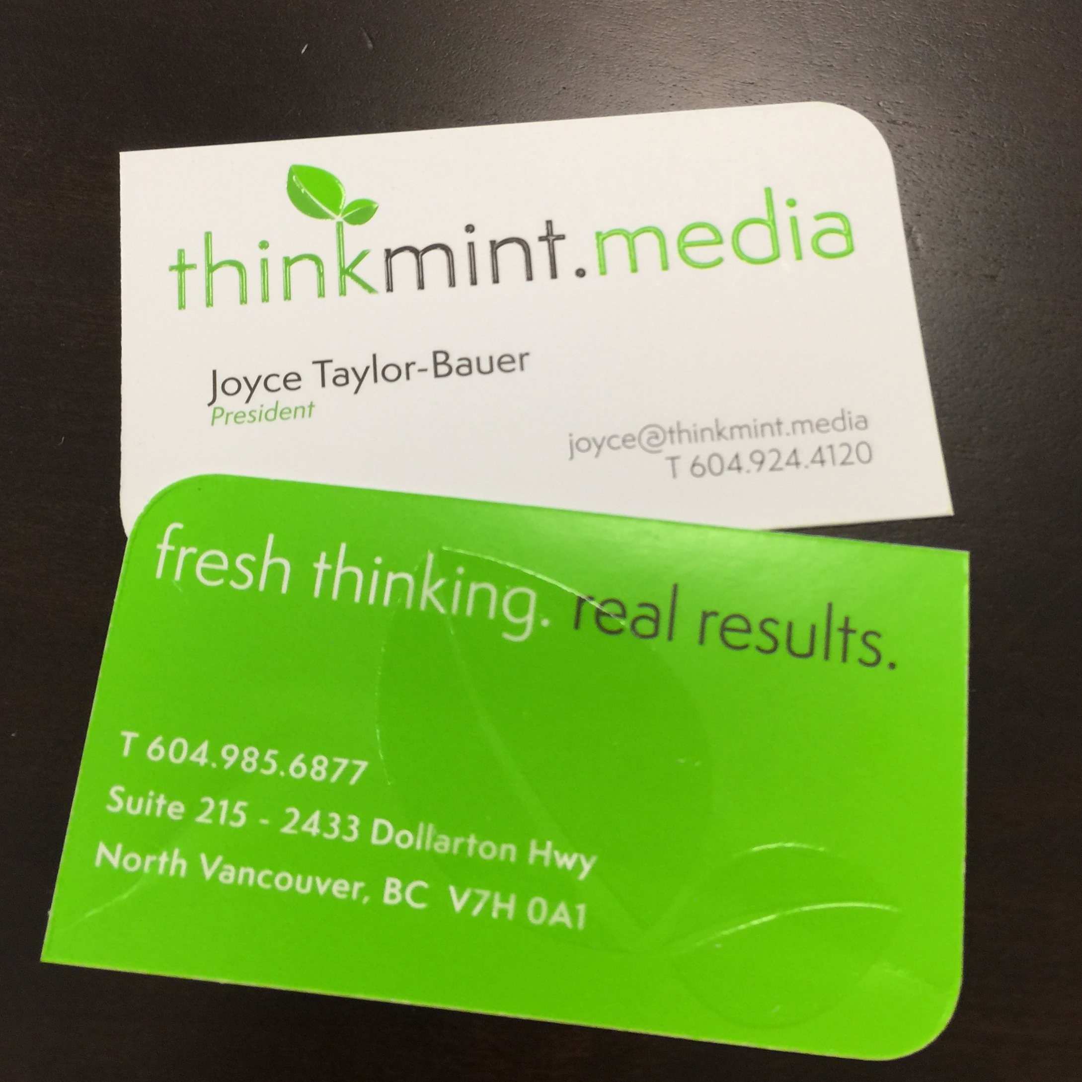 front and back of TMM biz card