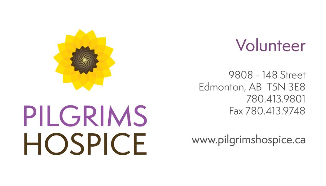 front of pilgrims biz card with volunteer info