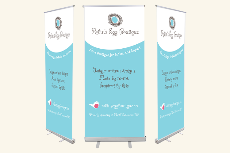 robin's egg boutique banner stand
