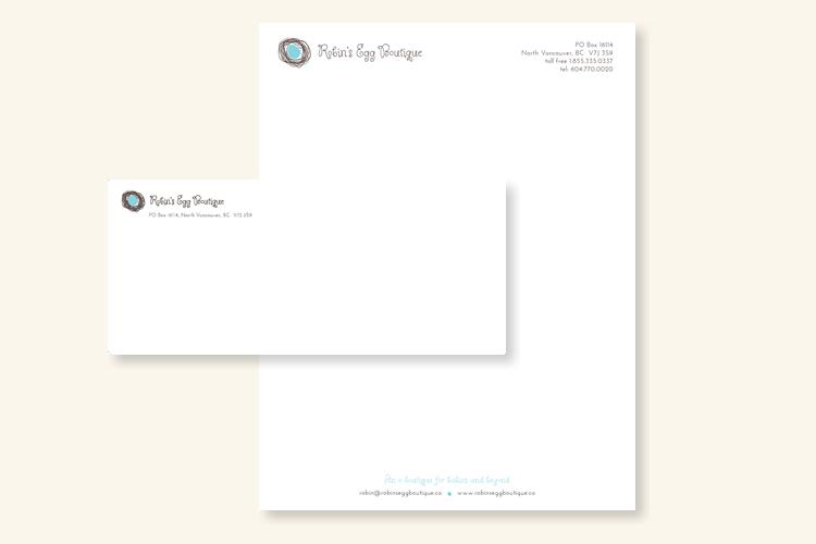 robin's egg boutique letterhead and envelope