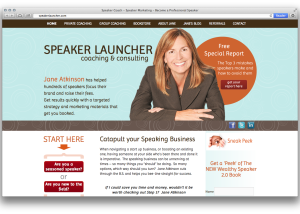 home page of speaker launcher, jane atkinson