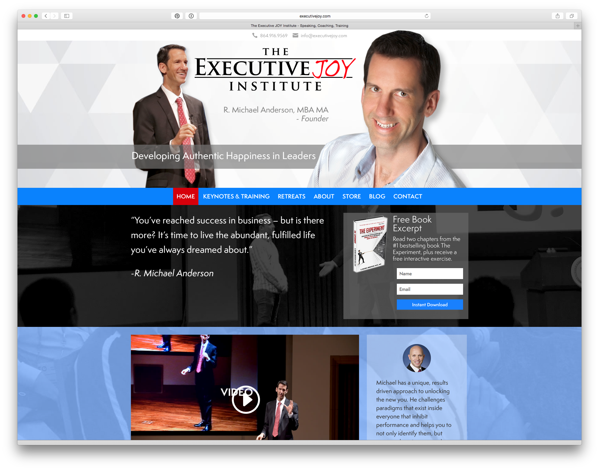 home page of the executive joy institute