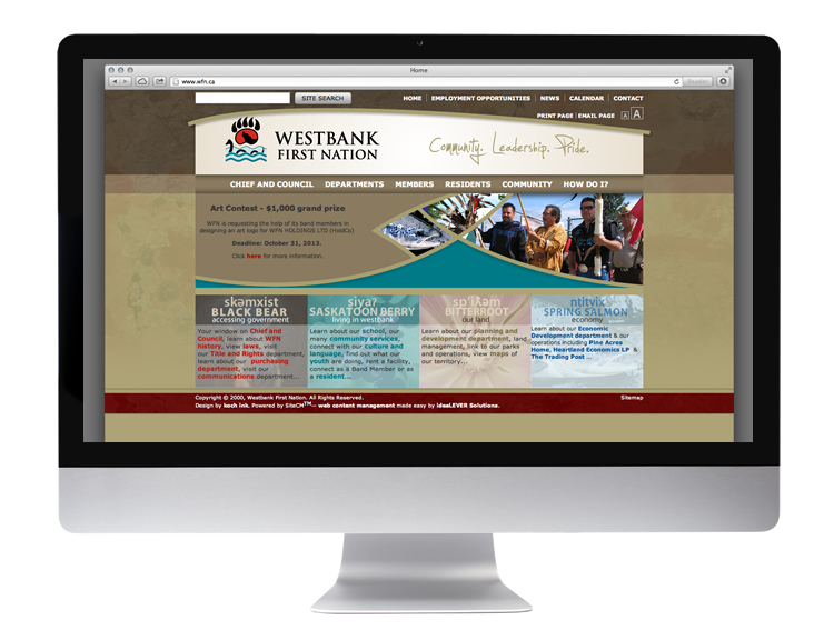 home page of westbank first nation